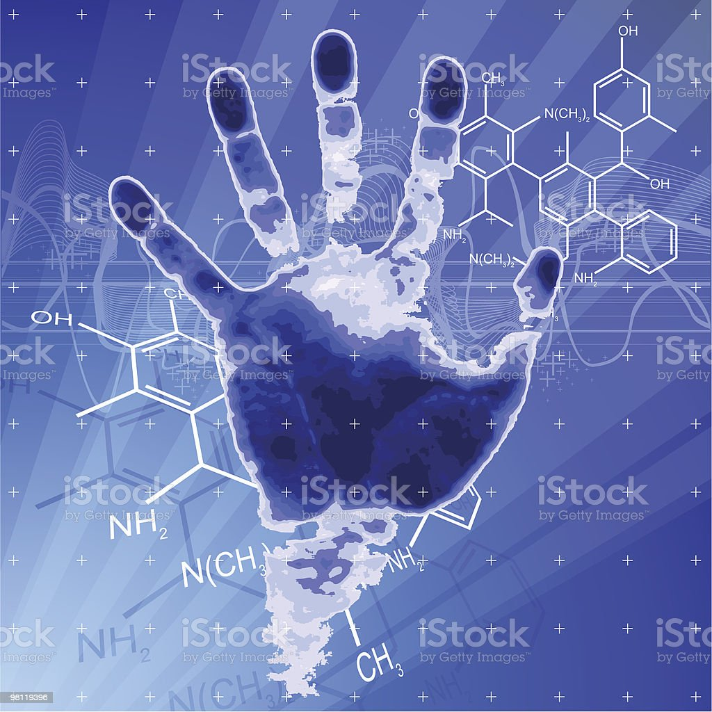 Hand print, rays of light and chemical formulas royalty-free stock vector art