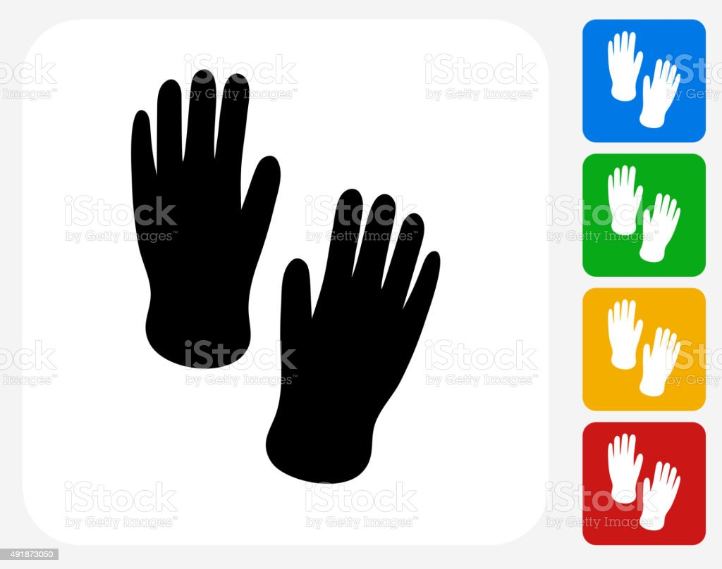Hand Prints Icon Flat Graphic Design vector art illustration