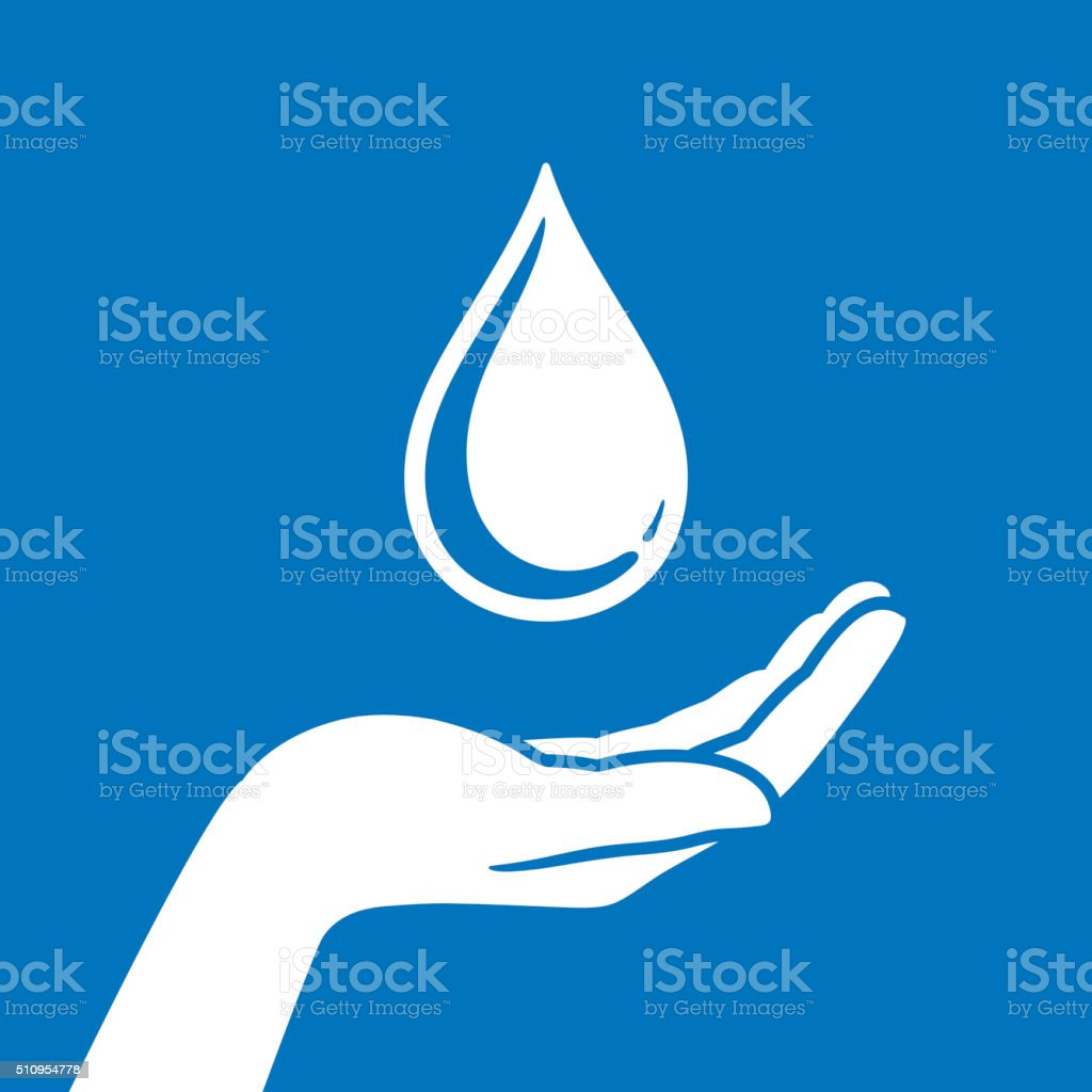 Hand protection water vector art illustration