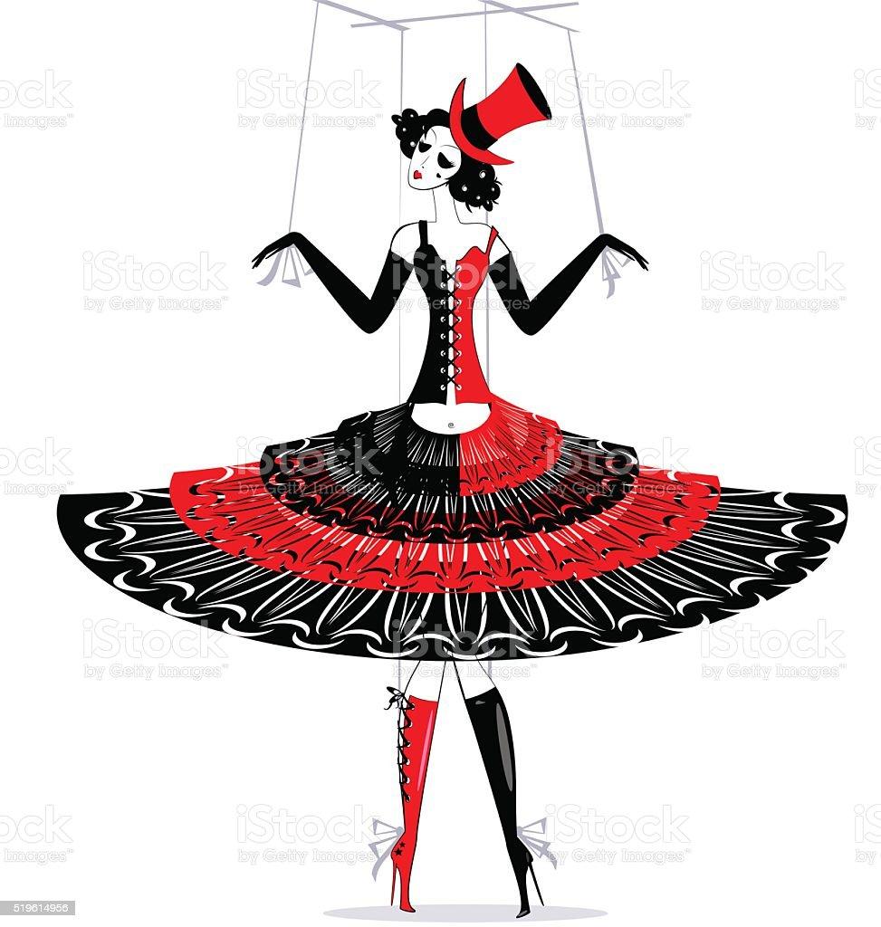hand puppet in black-red vector art illustration
