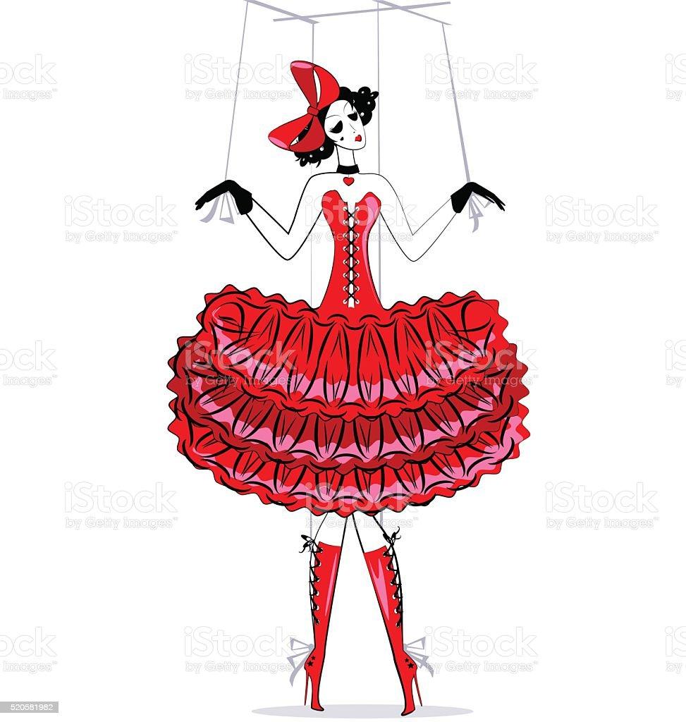hand puppet in red vector art illustration