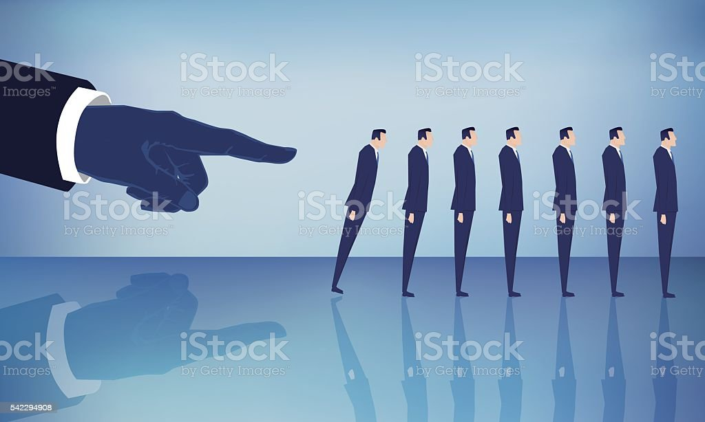 hand pushing down a businessmen group domino effect vector art illustration