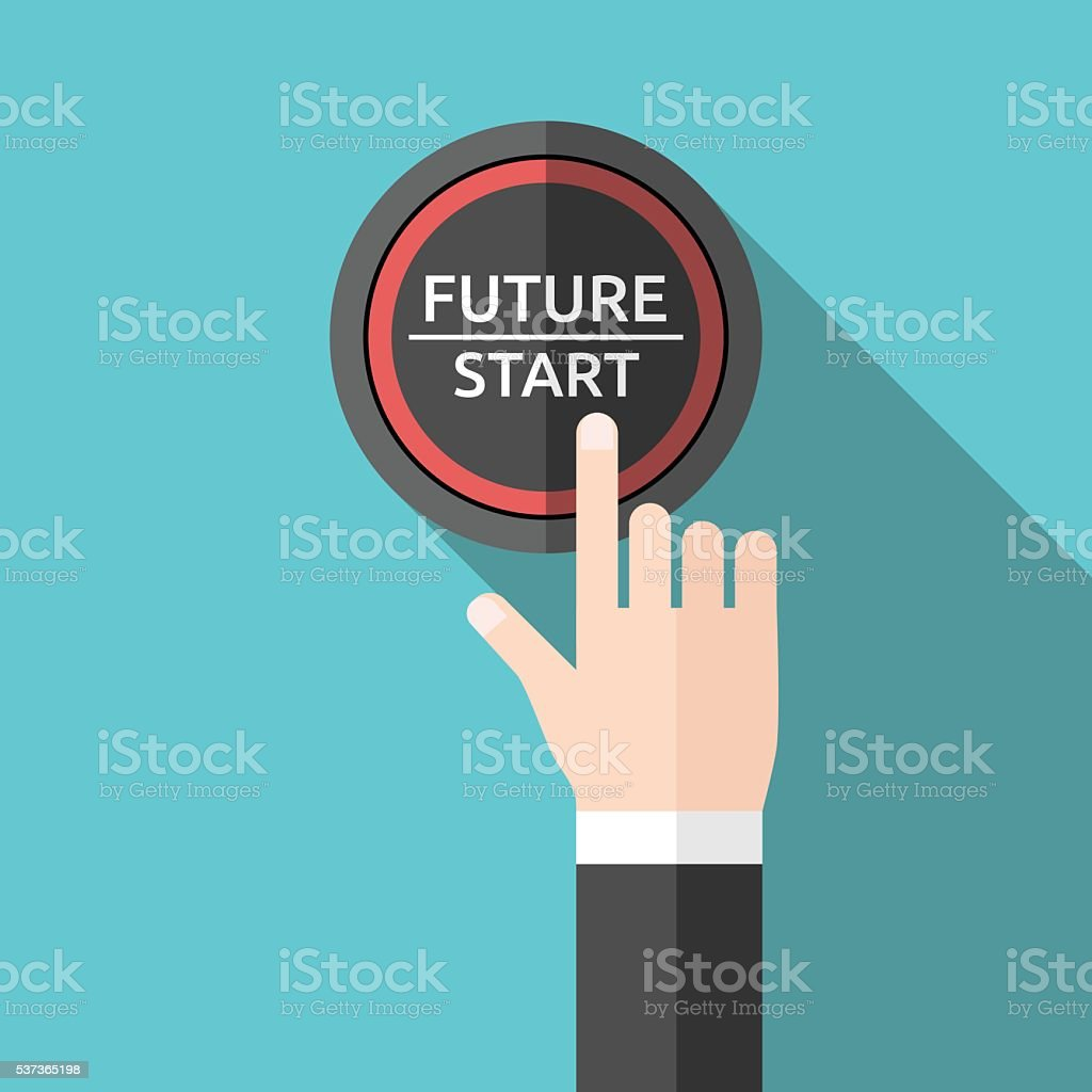 Hand pushing future button vector art illustration
