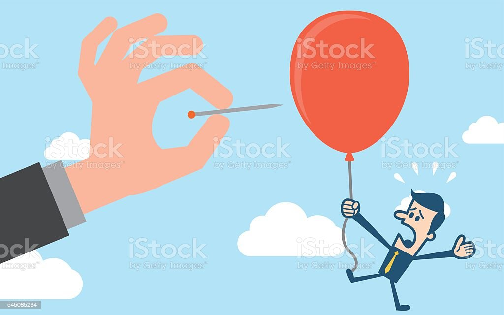 Hand pushing needle to pop the balloon of rival vector art illustration