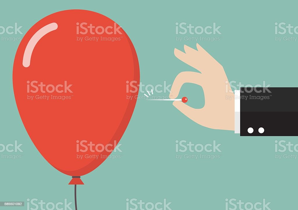Hand pushing needle to pop the balloon vector art illustration