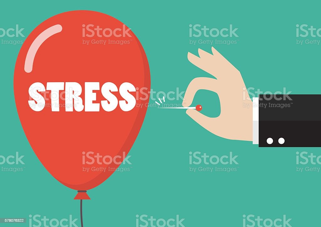 Hand pushing needle to pop the stress balloon vector art illustration