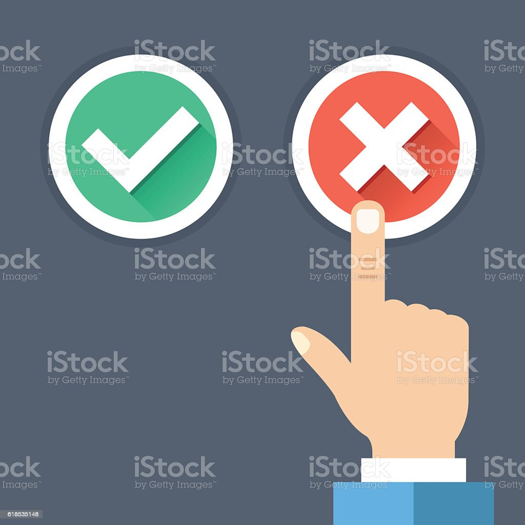Hand pushing red button with cross. Wrong choice, bad decision vector art illustration