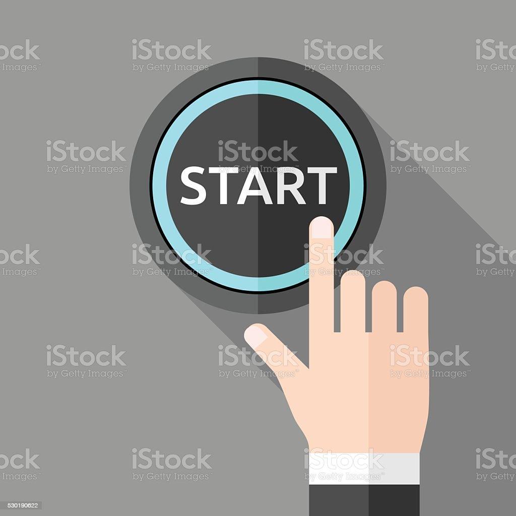 Hand pushing start button vector art illustration