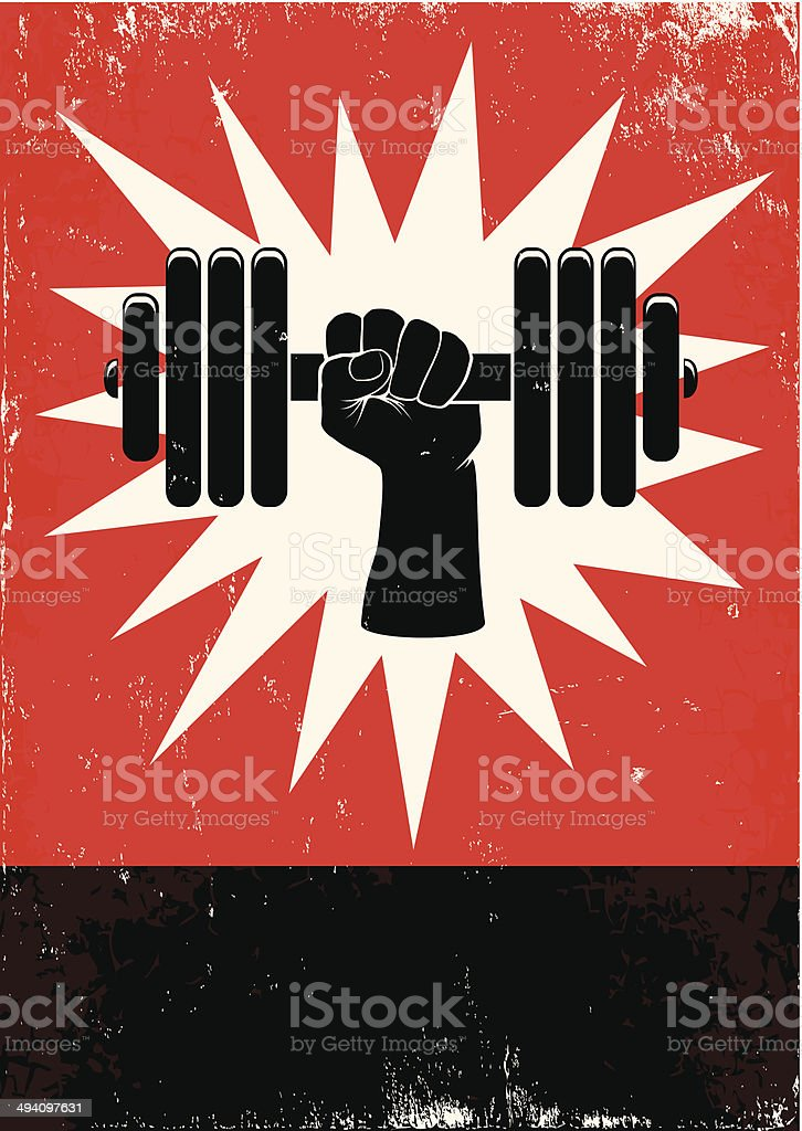 Hand pushing the dumbbell vector art illustration