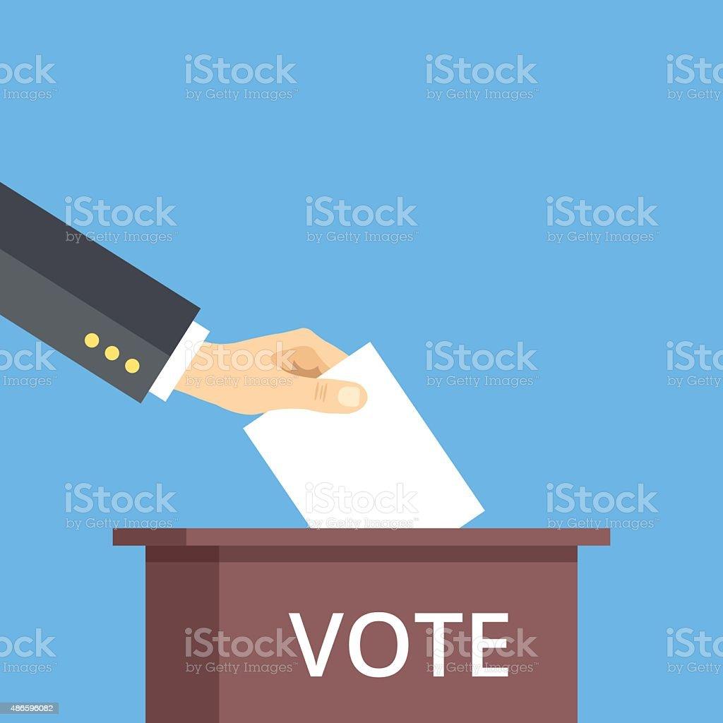 Hand put voting paper in ballot box. Voting flat concept vector art illustration