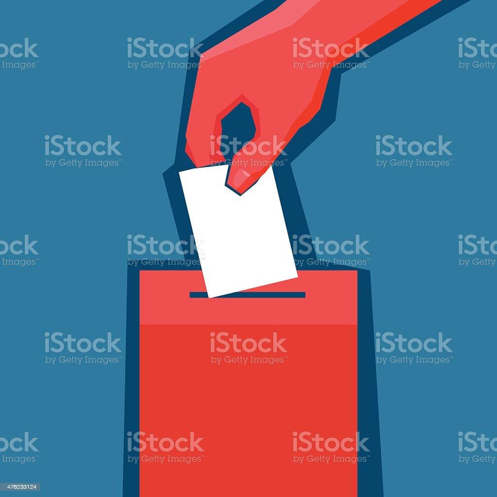Hand puts ballot in the ballot box vector art illustration