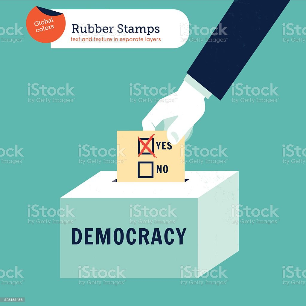 Hand putting a democracy voting ballot in a box vector art illustration