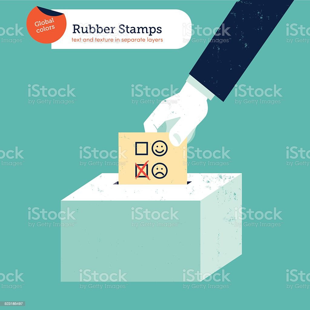 Hand putting a sad smiley voting ballot in a box vector art illustration