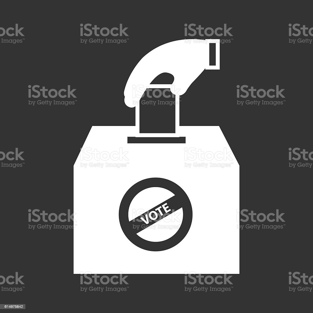 Hand Putting Ballot In The Box Voting Icon Vector Illustration vector art illustration