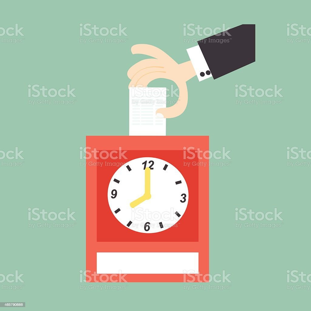 Hand putting card in time clock vector art illustration