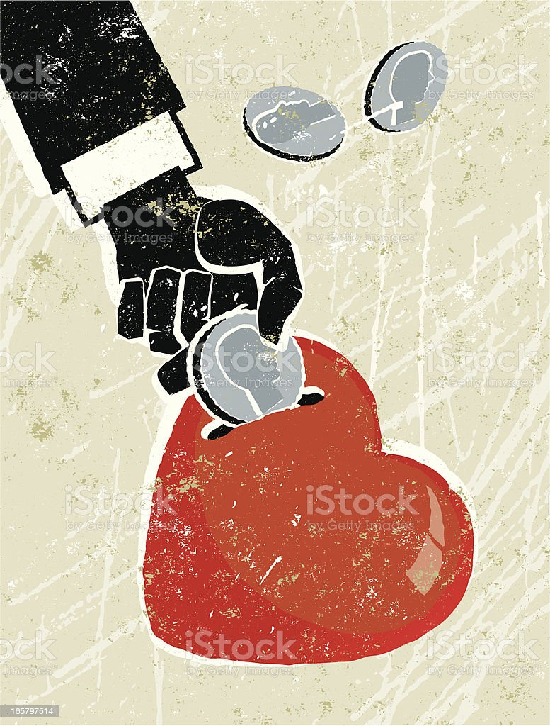 Hand putting Coins in a heart money box royalty-free stock vector art