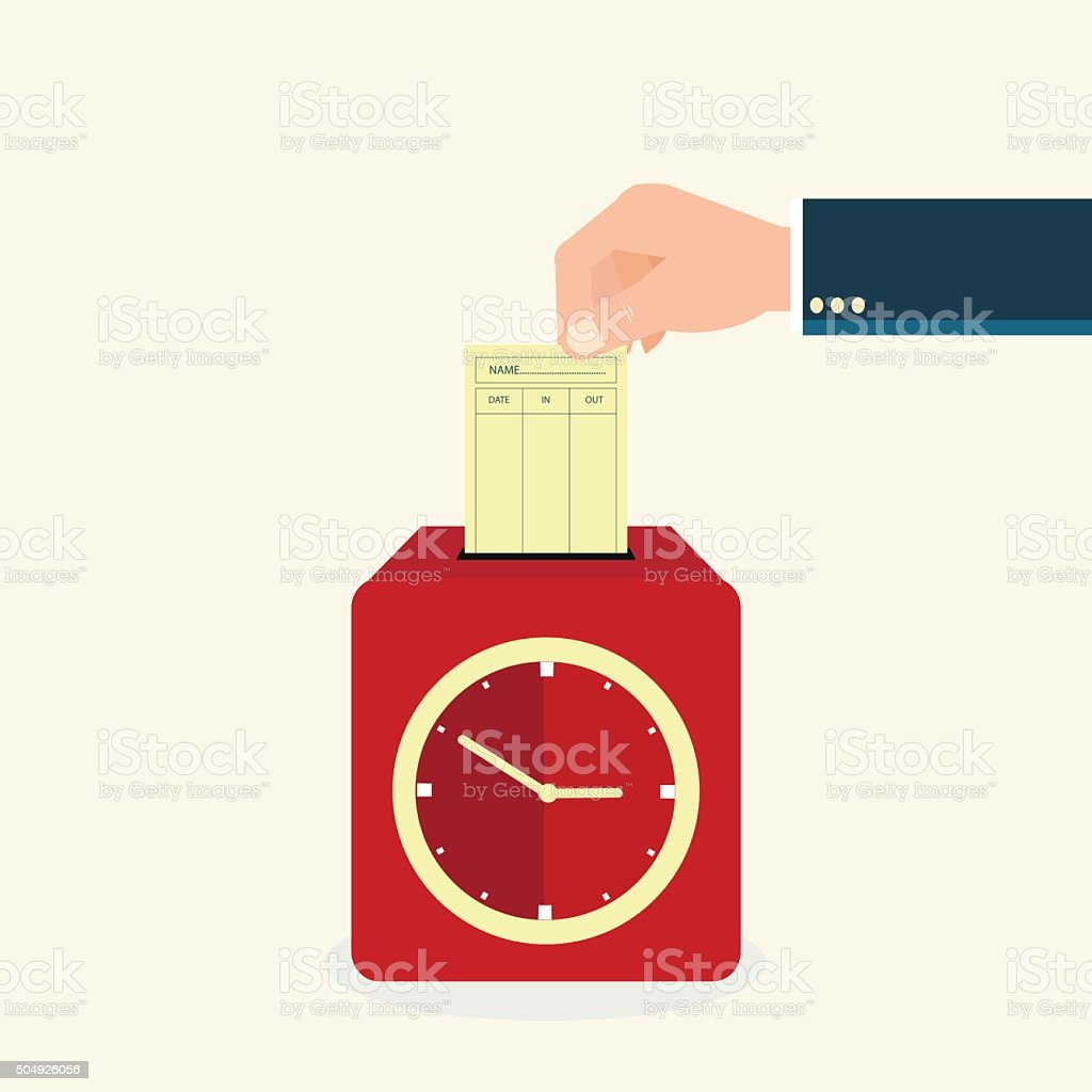 Hand putting paper card in time recorder machine. vector art illustration
