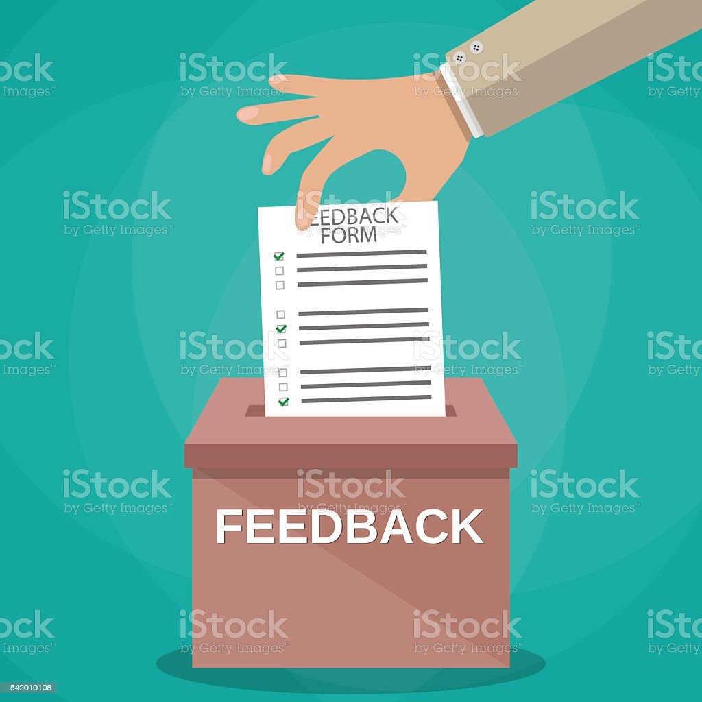 Hand putting paper in feedback box vector art illustration