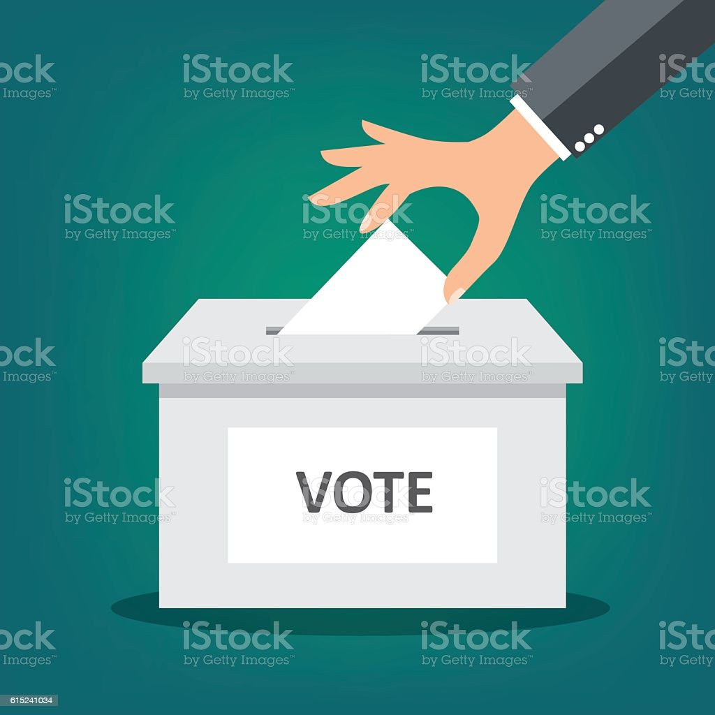 Hand putting paper in the ballot box - vector vector art illustration