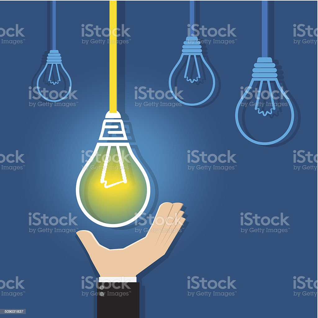 Hand reaching for a  glowing unique light bulb royalty-free stock vector art