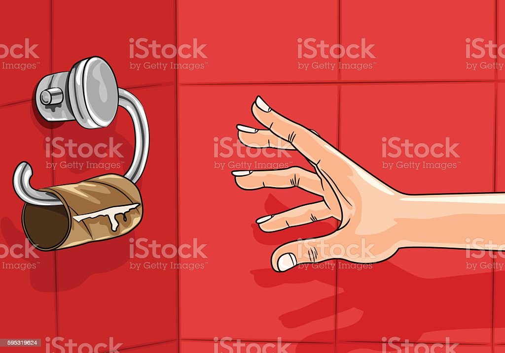 Hand reaching for empty toilet paper roll vector art illustration