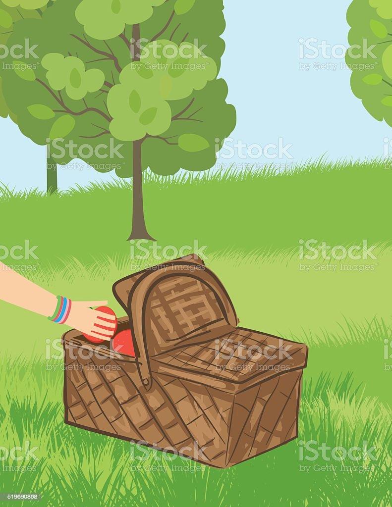 Hand Reaching Inside A Picnic Basket vector art illustration