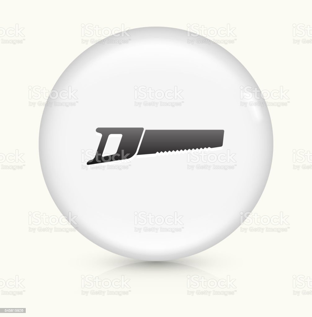 Hand Saw icon on white round vector button vector art illustration