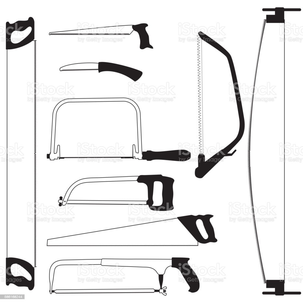 Hand saw. Set of silhouettes vector art illustration