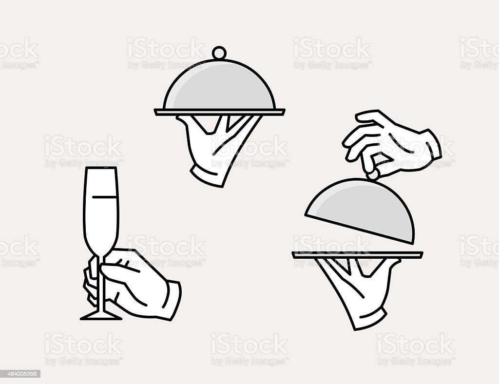 Hand serving tray icon vector art illustration