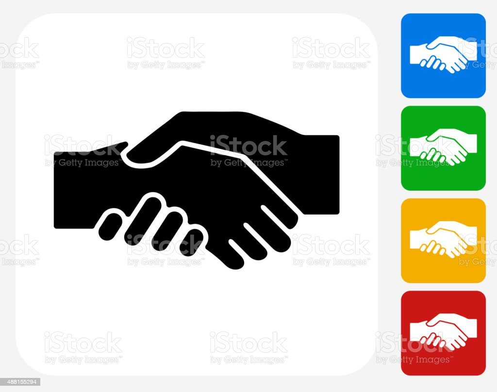 Hand Shake Icon Flat Graphic Design vector art illustration
