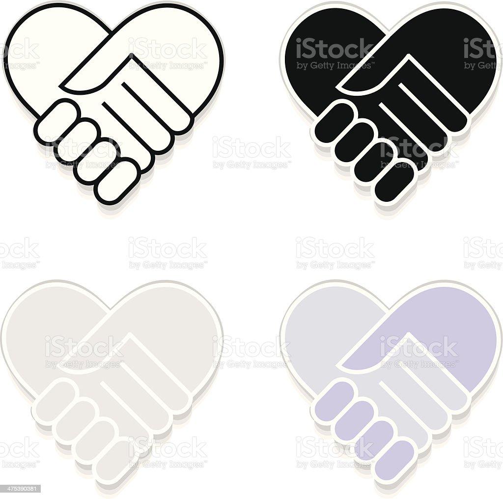 Hand shake sticker vector art illustration