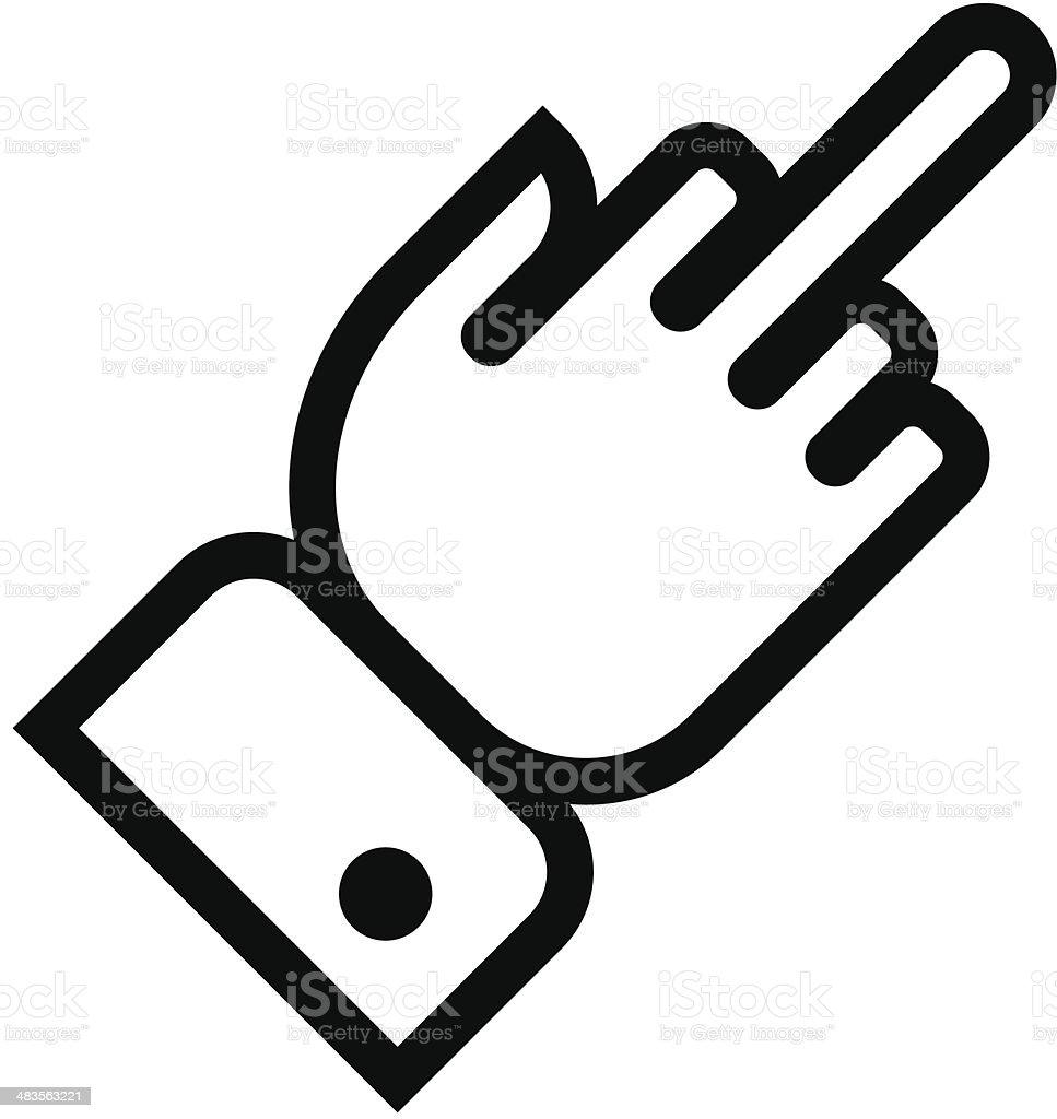 Hand showing middle finger outline icon vector art illustration