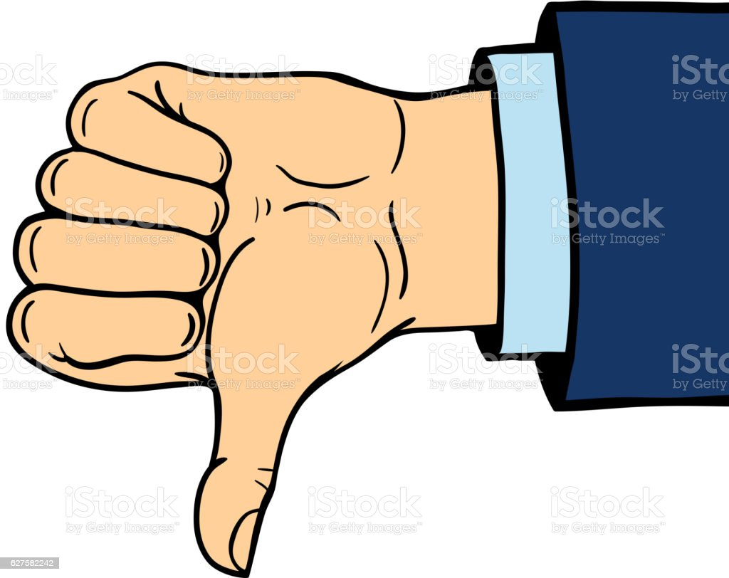 hand shows thumb down isolated on white background vector art illustration