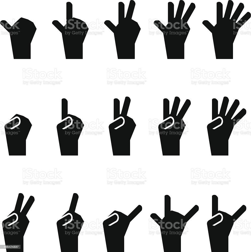 Hand Sign Icon Set vector art illustration