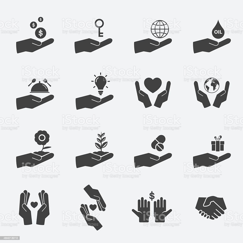 hand sign icon set. vector art illustration