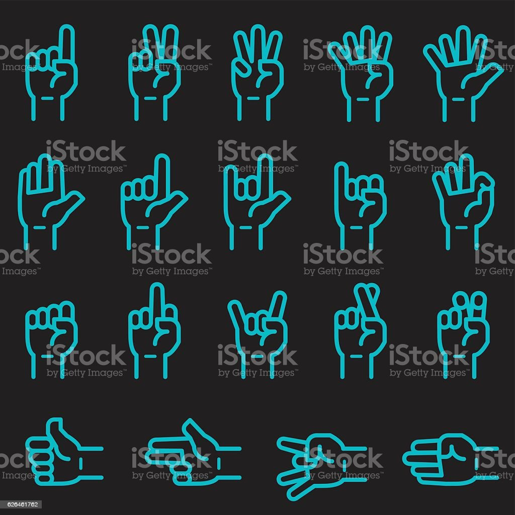 Hand Sign Icons [Glow in the Dark] vector art illustration