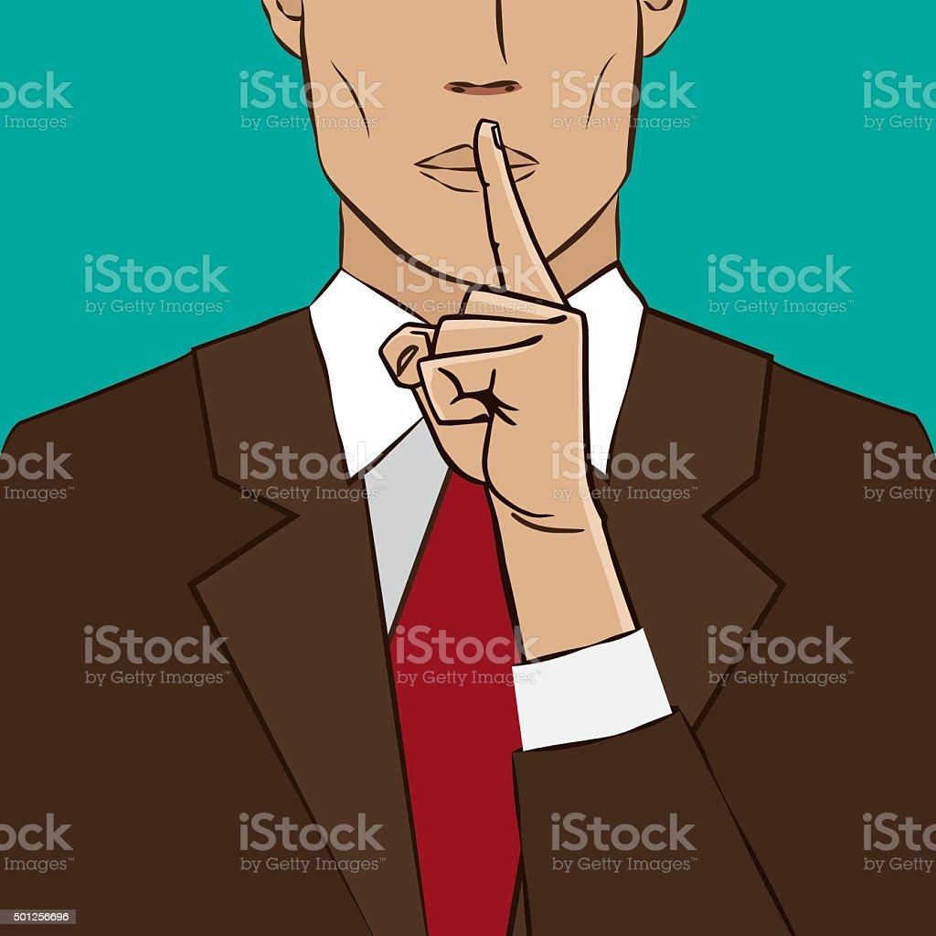 Hand sign silence vector art illustration