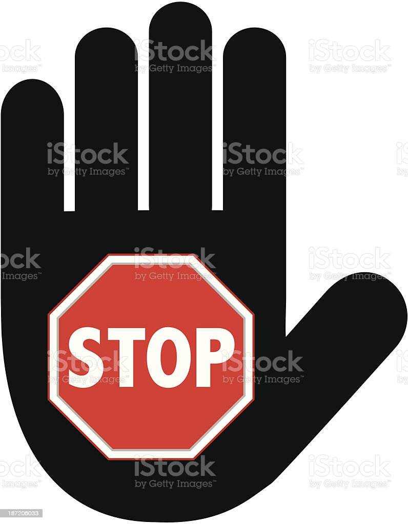 Hand Sign | Stop vector art illustration