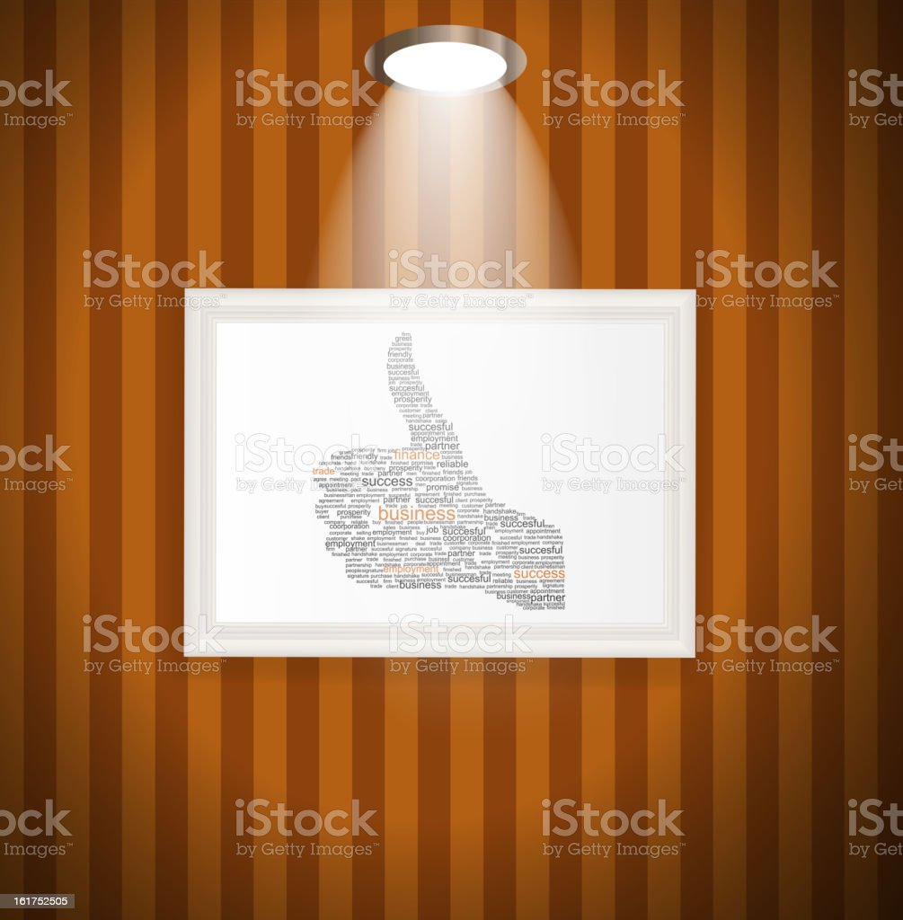 Hand signal on white frames in art gallery vector illustration. royalty-free stock vector art