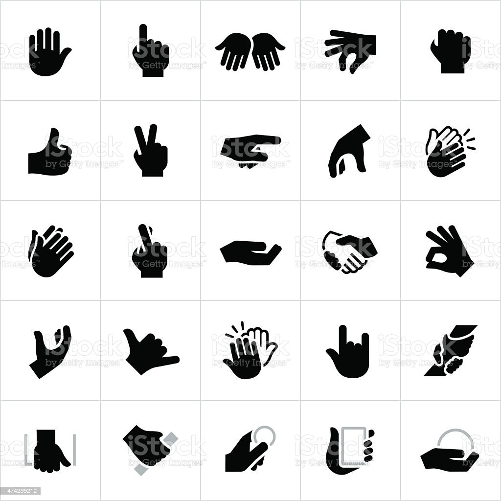 Hand Signals and Gestures Icons vector art illustration