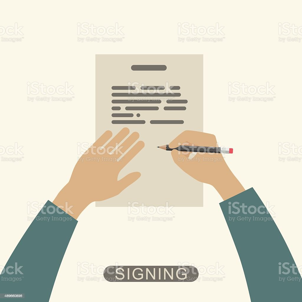 Hand signing contract. vector art illustration