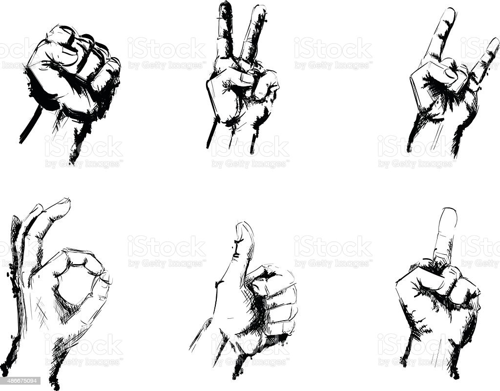 Hand Signs Gestures Black and White Pen Drawing vector art illustration