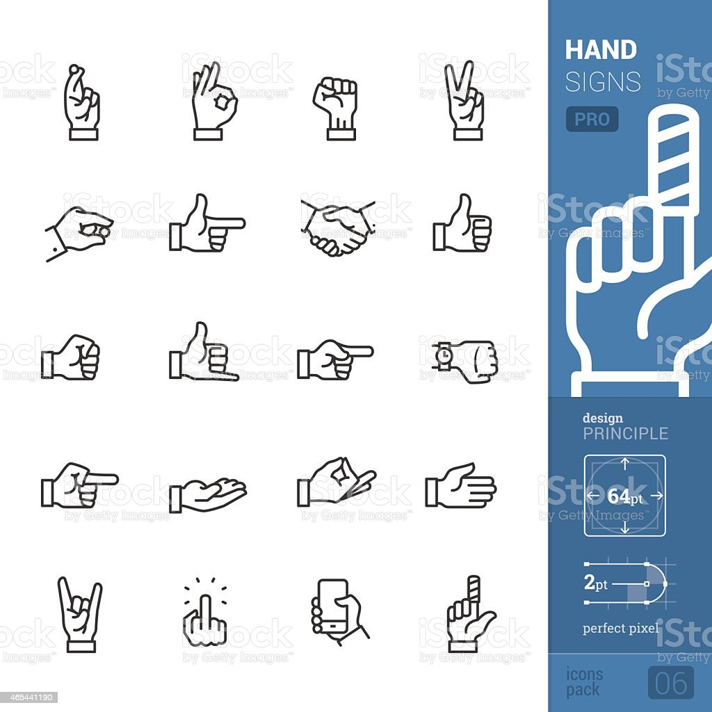 Hand signs vector icons - PRO pack vector art illustration