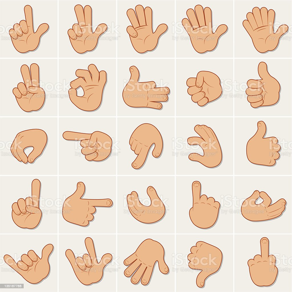 Hand Signs vector art illustration