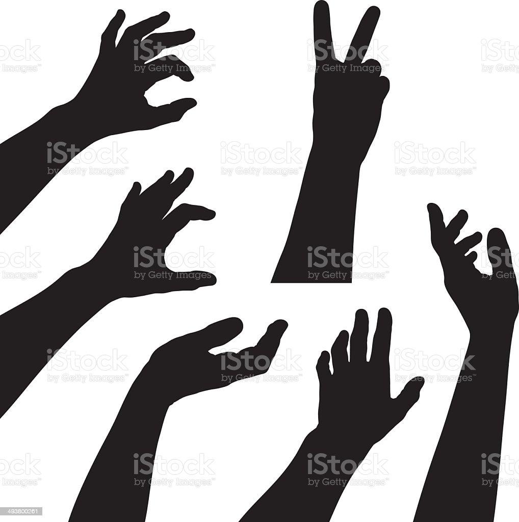 Hand silhouette set vector art illustration