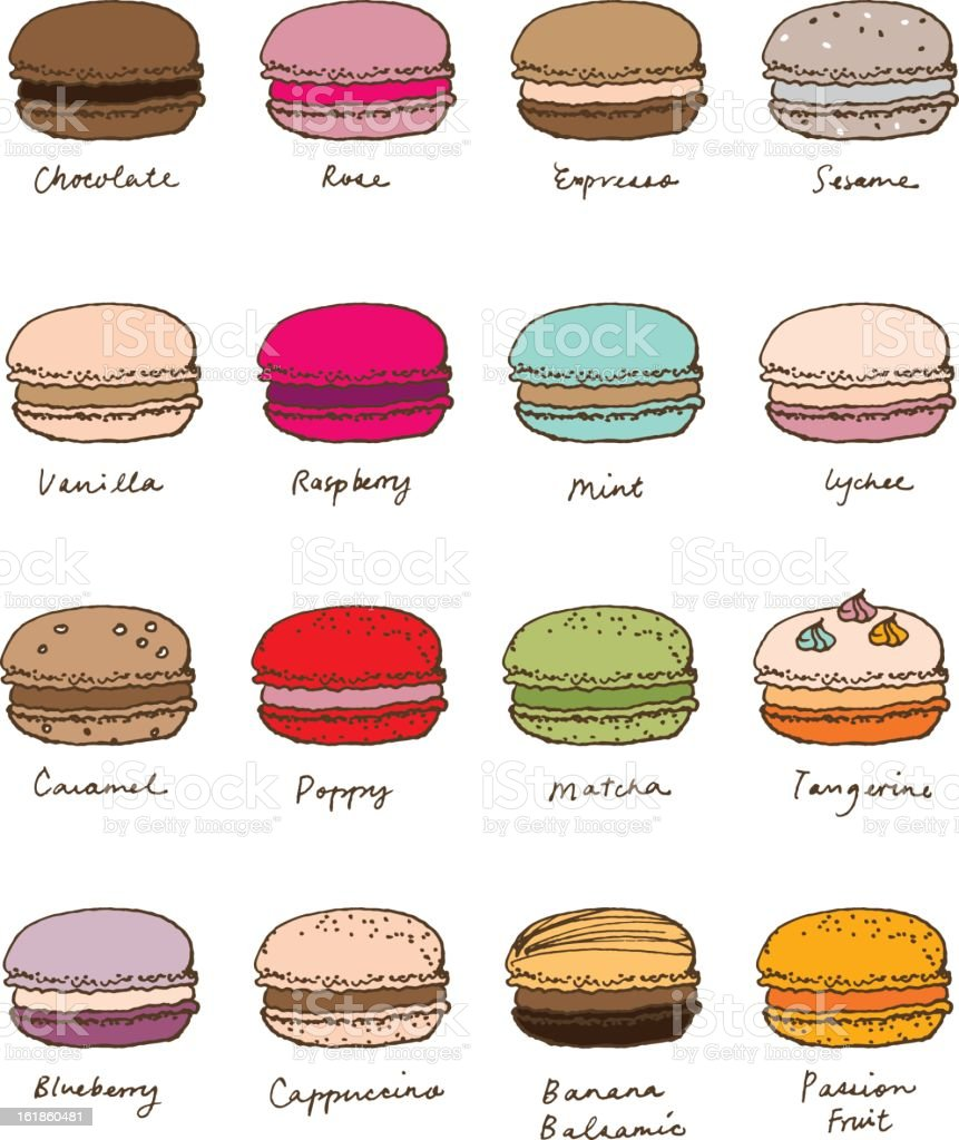 hand sketch assorted macaroon royalty-free stock vector art