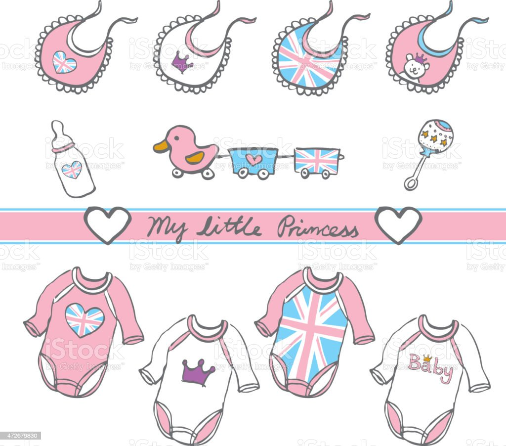 hand sketch pastel color royal british baby girl toy cloths stock photo