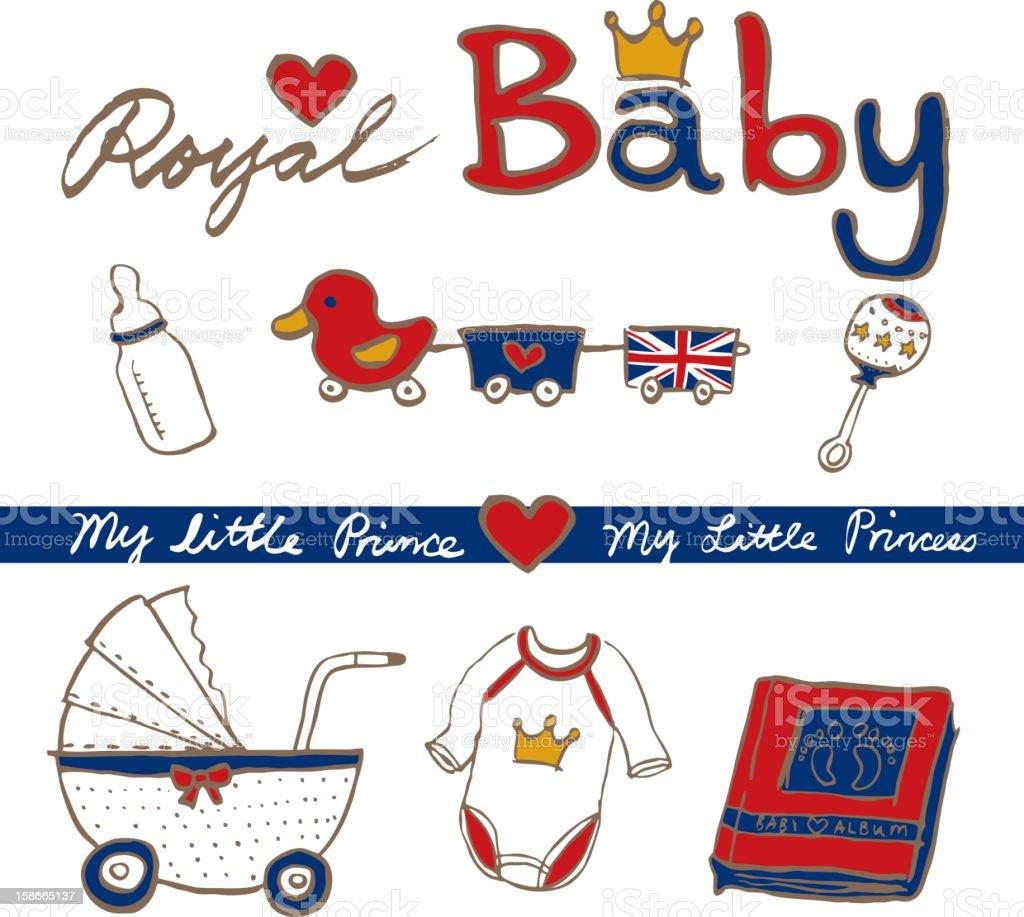 hand sketch royal british baby toy cloths album stock photo