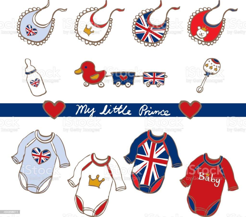 hand sketch royal british baby toy cloths bib stock photo