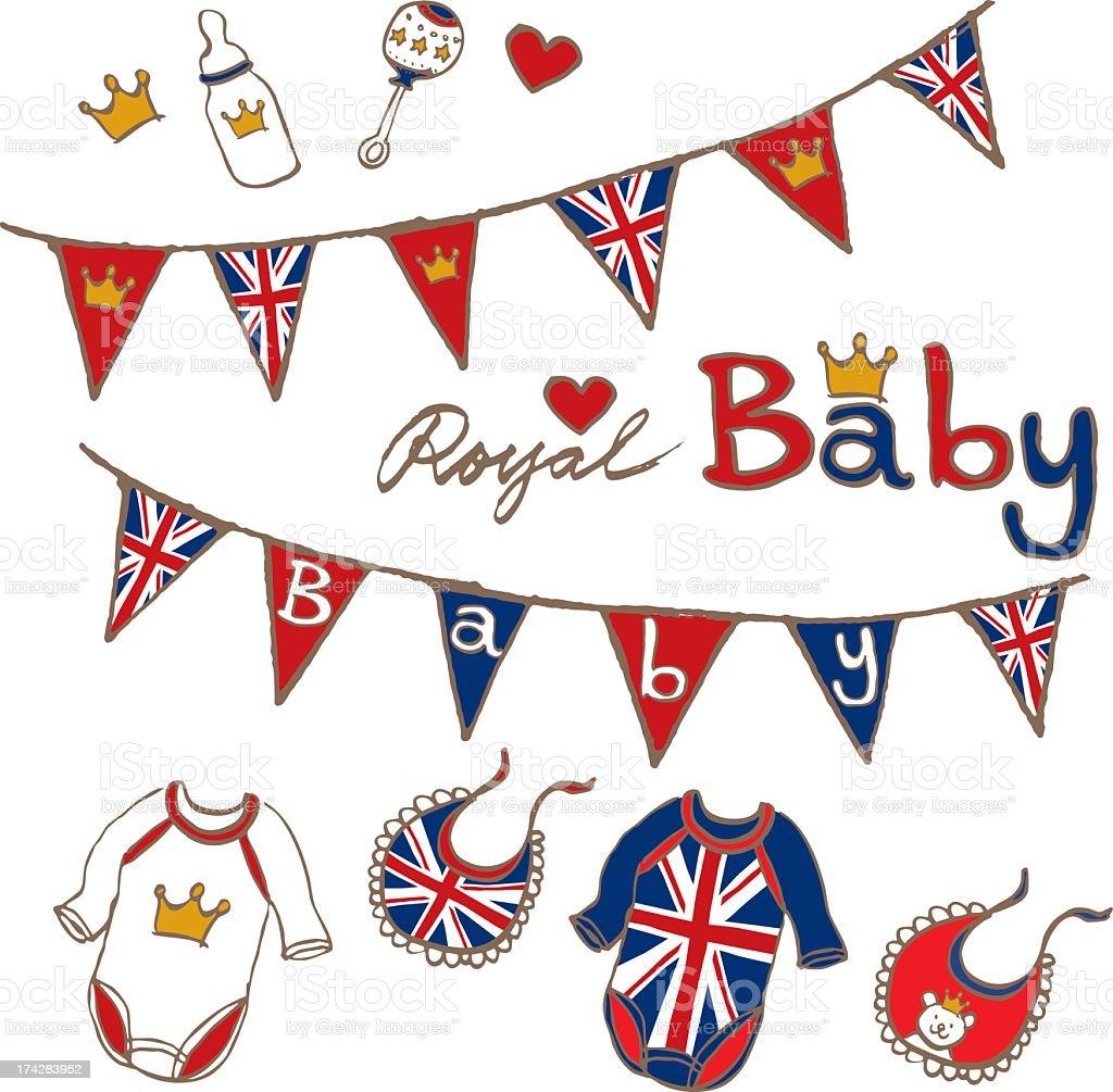 hand sketch royal british baby toy cloths stock photo